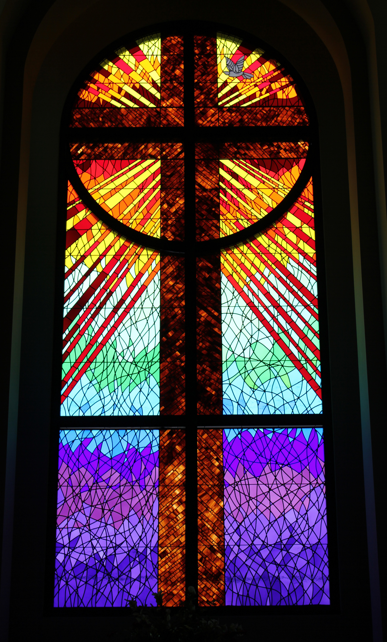 Stained Glass Of The First United Methodist Church In Pflugerville, Texas